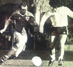 Dave Langan making a tackle on Diego Maradona