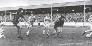 Robert Harvey playing for Clyde against Celtic
