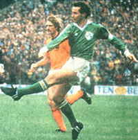 Liam Brady playing for Ireland