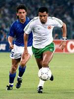 Paul McGrath and Roberto Baggio at Italia 90