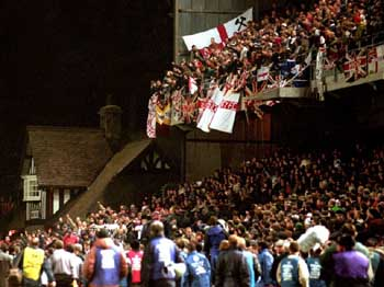 English fans in the Upper West Stand  at Lansdowne Road in 1995