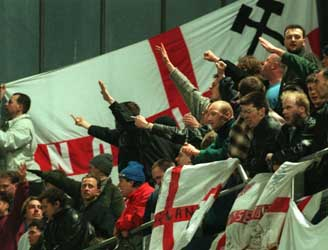 English fans giving nazi salutes at Lansdowne Road during Ireland V  England match in 1995