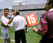 John Aldridge arguing with the fourth official during the match against Mexico at the 1994 World Cup