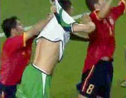 Hieero of Spain fouling Niall Quinn  at 2002 World Cup finals
