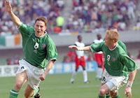 Matt Holland celebrates hs goal against Cameroon at the  2002 World Cup finals