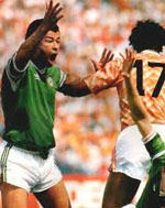 Irish defender Paul McGrrath playing against Hollan at Euro 1988