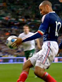Thierry Henry handling the ball
