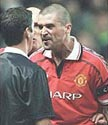 Roy Keane berating referee Andy D'Urso