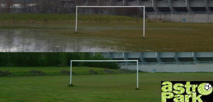 Water-logged football pitch